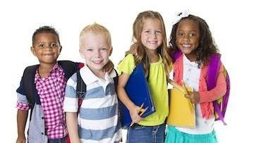 Multi-ethnic group of children with backpacks l Children's Dentistry