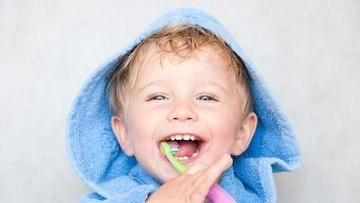 Baby boy with tooth brush l Children's dentist Temple TX